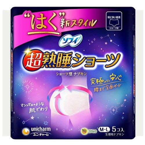 【JPGO】預購-日本進口 蘇菲 超熟睡安心衛生棉褲 M~L 居家型(5枚入)#763