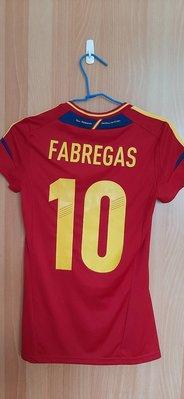 二手 2012-2013賽季 足球 西班牙國家隊 主場 正版 女版 球衣 (背號10 Fàbregas)