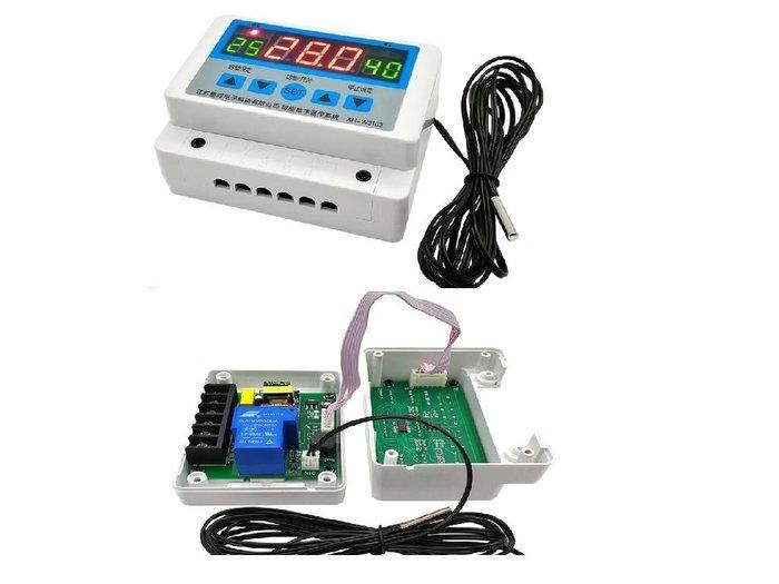 三畫面顯示AC110V/220V 30A 溫度時間控制器+交流轉交流40A固態繼電器+AC電源線+母端子線材