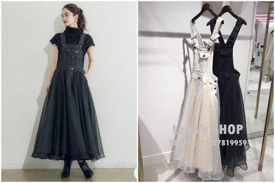 🌸Lenas通販⭐特價⭐2020年5月日本知名品牌兩色超美牛仔吊帶拼接層層網紗裙吊帶裙長洋裝