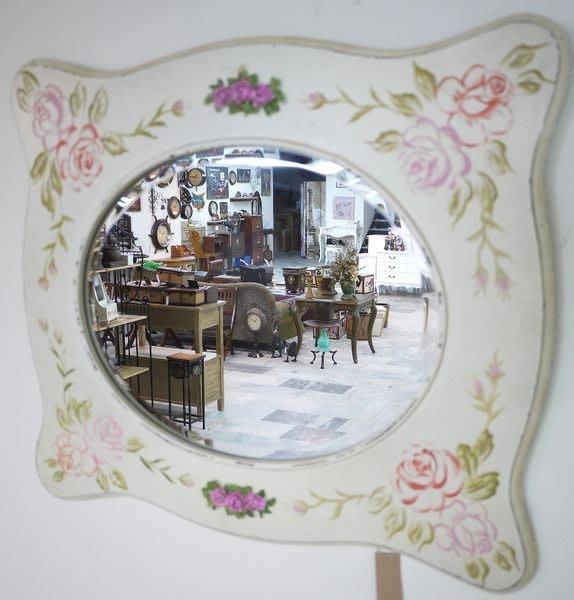 英式鄉村手工彩繪橫 直掛式掛鏡 穿衣鏡 壁掛鏡 橢圓鏡面 立體貼花  [布拉格家居]