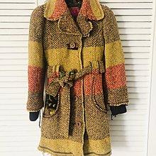 原價$42880 MISS SIXTY 羊毛拼接印花內裡毀損風繫帶大衣 10~12歲