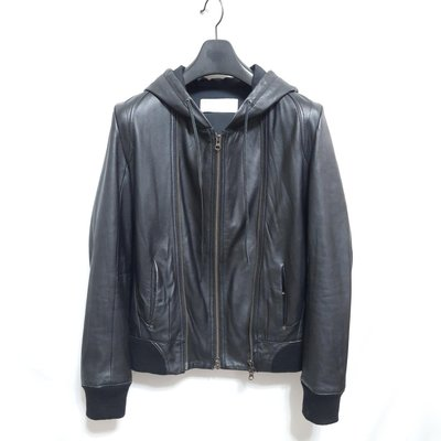 【TOKYO 精品】日本品牌SENSUAL FMH 型男高質感窄版柔軟羊皮連帽運動皮衣 真皮