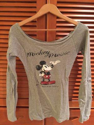 日本Moussy米奇米老鼠大圓領露肩一字領腰身性感可愛純棉長袖上衣