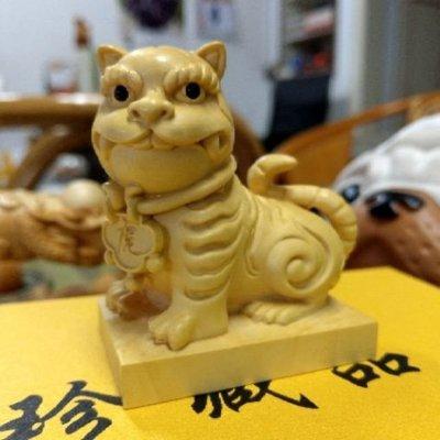 (現貨)黃楊木虎爺 虎爺將軍 木雕裝飾 供奉擺件