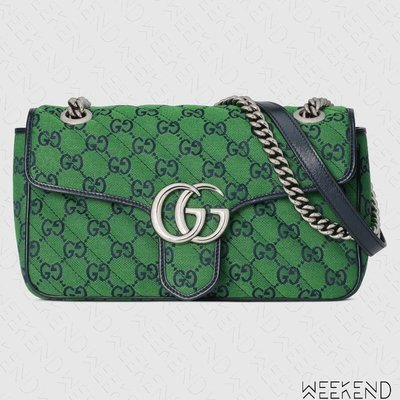 【WEEKEND】 GUCCI GG Small Marmont 小款 肩背包 綠色 443497