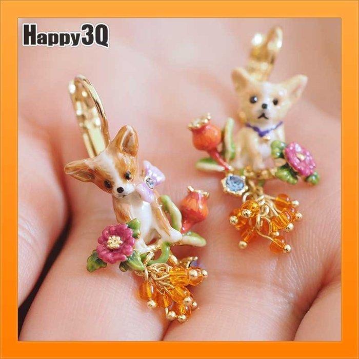 耳環耳針琺瑯瓷釉鍍金手工設計柯基吉娃娃糖果色甜美飾品耳針可愛-耳夾/耳環【AAA3117】