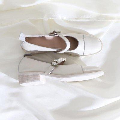 韓流衣櫃蓮花府邸淺口低跟鞋簡約歐美瑪麗珍鞋時尚百搭粗跟鞋圓頭真皮女鞋