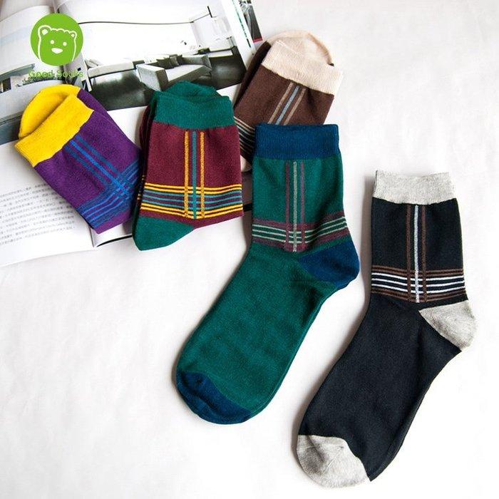 男襪 幾何條紋中筒襪紳士襪襪子【Good Socks】