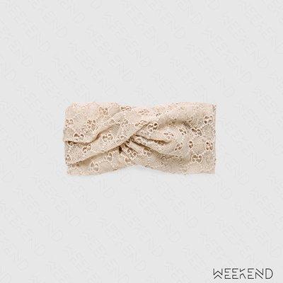【WEEKEND】 GUCCI GG macramé Logo 髮帶 頭帶 米白色 512115