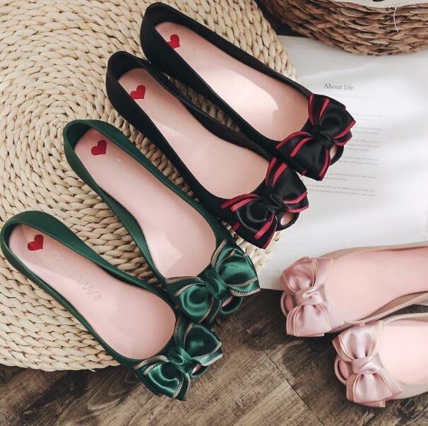 雨鞋 涼鞋 蝴蝶結果凍鞋 韓版魚嘴淺口花朵防滑雨鞋 平底鞋 沙灘鞋—莎芭