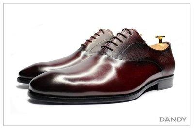 ├ DANDY ┤真皮拼接牛津鞋 ‧ 2020新款冬季正式男鞋 2種不同皮革拼接 暗紅色 366-623