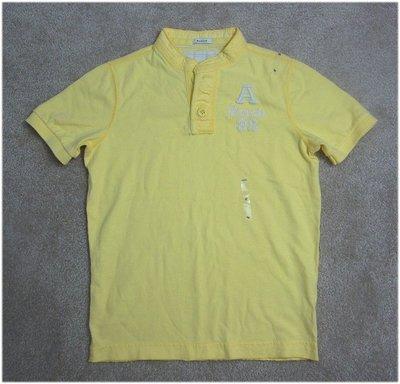 abercrombie kids 大男孩黃色刺繡Logo亨利領短袖棉T(S號) (02580) ~全新正品