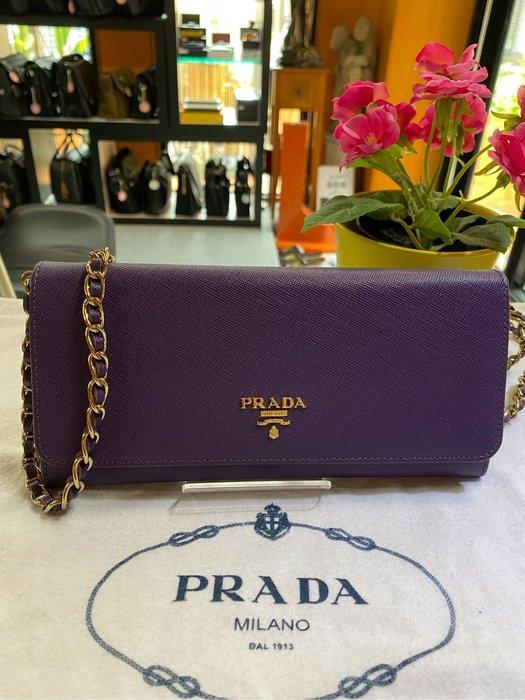 美麗堡outlet Prada Woc (wallet on chain金鍊包) 1M1290長夾/手拿夾/斜背 紫色【現貨】