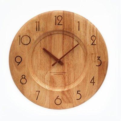 5Cgo ~宅神~含稅會員有 原木田園 鍾表木質掛鍾壁掛時鍾靜音沙發背景牆走廊玄關 時計中原 時間實木鐘指針鐘錶