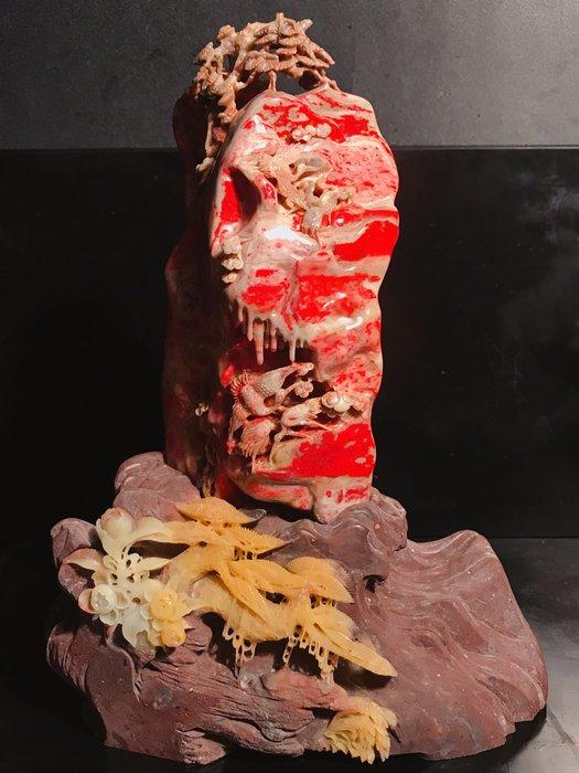 拍賣級數  出汁滿堂紅血色大紅袍  全玉地老坑昌化雞血石大擺件   『一品黄山』 名師嘔心力作 高檔頂級~
