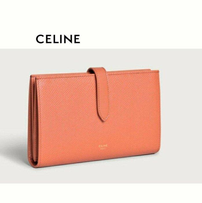 CELINE ►( 珊瑚橘粉色×金屬金色 )   防刮壓紋 真皮 兩摺長夾 錢包 皮夾|100%全新正品|特價!