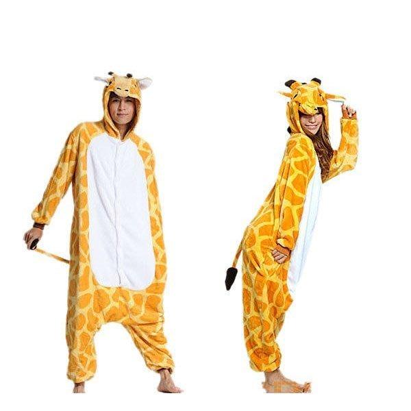 5Cgo【鴿樓】會員有優惠 珊瑚絨卡通動物連體睡衣 情侶家居演出服裝 舞台劇服飾 cospay 長頸鹿
