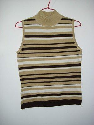 潮流帥衣 韓風駝色條紋流行款細毛線編織典雅設計款無袖造型毛衣 衣長55公分零碼特價