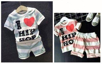 ♥【BS5050】韓版男童裝愛心字母條紋短褲套裝 2色 (現貨) ♥