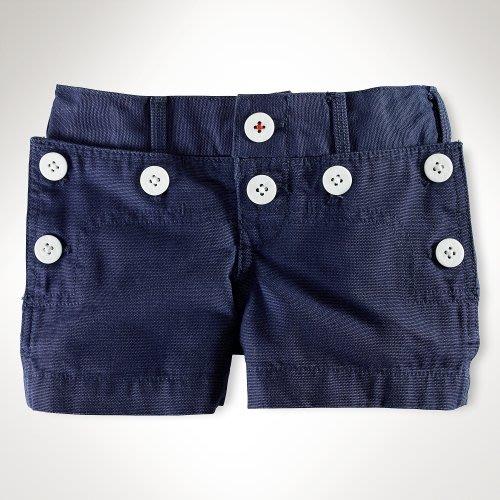 Polo Ralph Lauren 小女孩Leah Canvas 鈕扣裝飾深藍色短褲(6Y) (20657) ~全新正品
