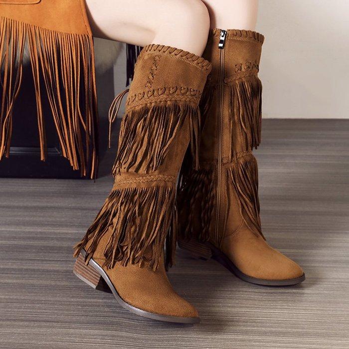 長靴 高筒靴 馬丁靴 女靴春秋單靴新款女中跟粗跟側拉鏈中長筒流蘇防滑保暖雪地靴 RLYX 9105