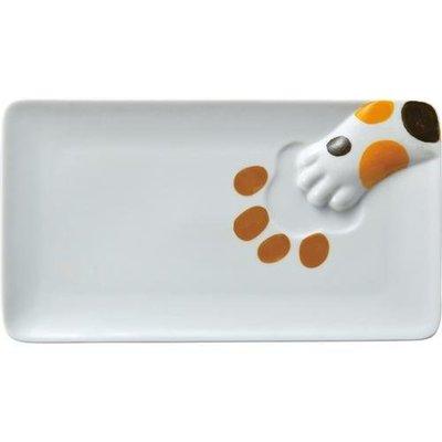 生活樂趣 可愛貓咪肉球 貓掌方形瓷盤 (三款可選 虎斑/黑色/三花貓爪) 拍照上傳讓食物看來更美味喔~