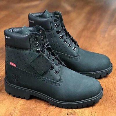 Timberland x Supreme 聯名 男女款頭層高幫防水保暖靴 黑色 35.5-45碼