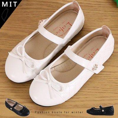 女童 MIT製造舒適柔軟蝴蝶啾啾格紋魔鬼氈 公主鞋 娃娃鞋 平底鞋 Ovan