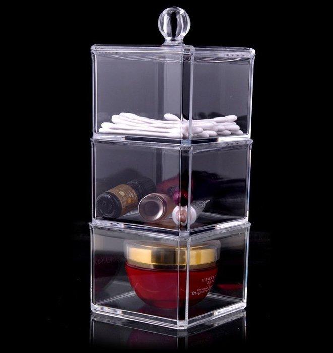 【愛麗絲生活家飾雜貨】韓國高質感透明水晶壓克力收納盒/三層飾品盒/棉線盒