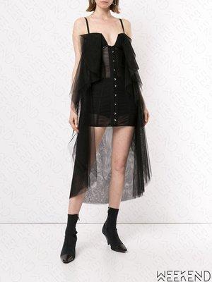 【WEEKEND】 UNRAVEL 低胸 拼接 細肩帶 薄紗 短裙 短洋 黑色 折扣