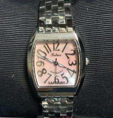 【神梭鐘錶】TELUX WATCH 瑞士自動上鍊eta2671機蕊酒桶型高級珍珠貝立體阿拉伯數字面長鈑五珠女妝機械銀腕錶