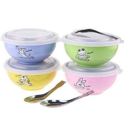 [老王五金]斑馬牌 兒童碗 [塑膠蓋]  隔熱碗 幼稚園 三色碗 學習碗 彩色碗 304不銹鋼 開發票
