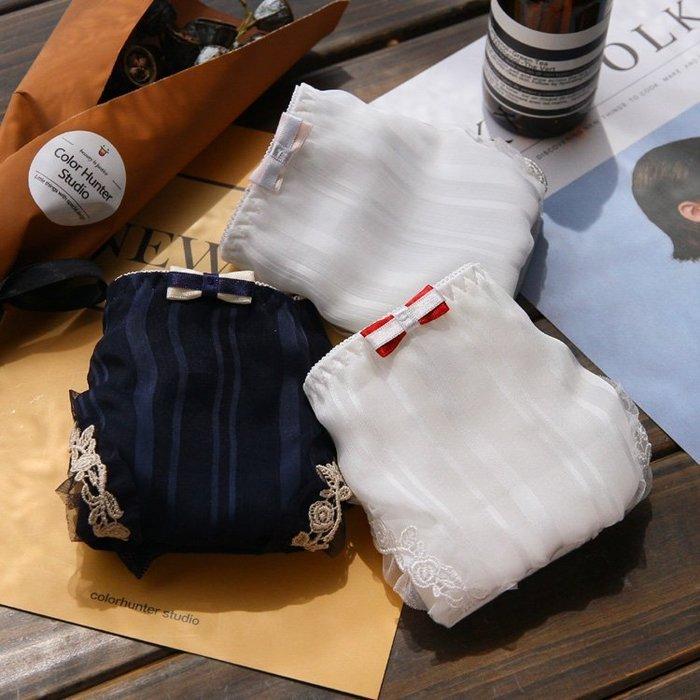 新品!!雙色蝴蝶結,高級質感條紋,特殊蕾絲包邊內褲