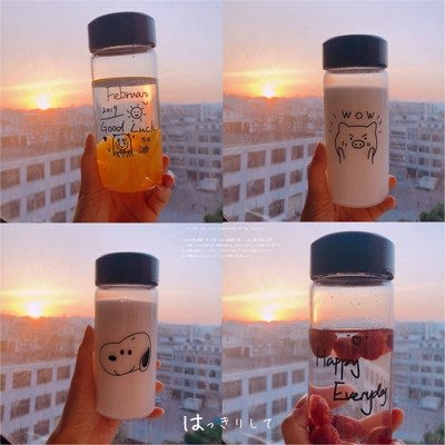 日系ins風小清新可愛玻璃水杯 水壺 ...