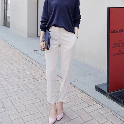 西裝褲 韓系 穿出不一樣的韓風時尚感西裝褲釦筆褲 艾爾莎 【TAE7812】