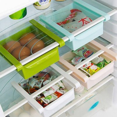 ❃彩虹小舖❃【Q46】隔板層整理收納架 冰箱隔層 廚房收納 創意收納盒 抽動式 儲物盒 置物盒 收納架 食物保鮮盒