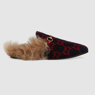 【代購】Gucci Princetown GG wool slipper mules 毛毛 穆勒鞋 603725