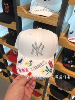 MLB 100%韓國代購 MLB 洋基帽 棒球帽 32CPFR811-50W 玫瑰花刺繡+貼鑽