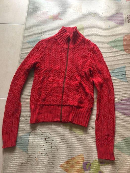 Polo jeans 紅色長袖針織外套 size s