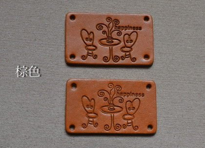 *巧巧布拼布屋*台灣製~悠閒下午茶真皮皮標-自然風手作材料 / 2片一包/~ 棕色.咖啡色.本皮色..共3色~