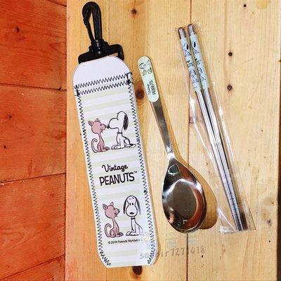 JP購✿19060100013 掛勾式皮套不鏽鋼湯筷組 親愛 史努比snoopy 304不鏽鋼 餐具 湯匙 筷子 餐具組