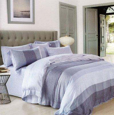 【Jenny Silk名床】麻趣部落.藍色.100%天絲.標準雙人床包組兩用鋪棉被套全套