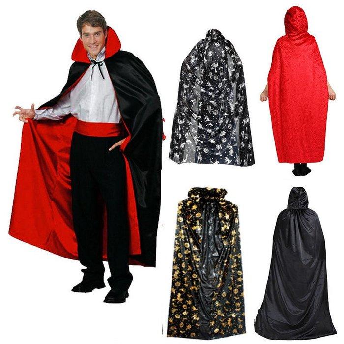 萬聖節便裝服裝 吸血鬼披肩巫婆魔術師紅黑披風 幽靈惡魔披風道具戲服_☆找好物FINDGOODS☆