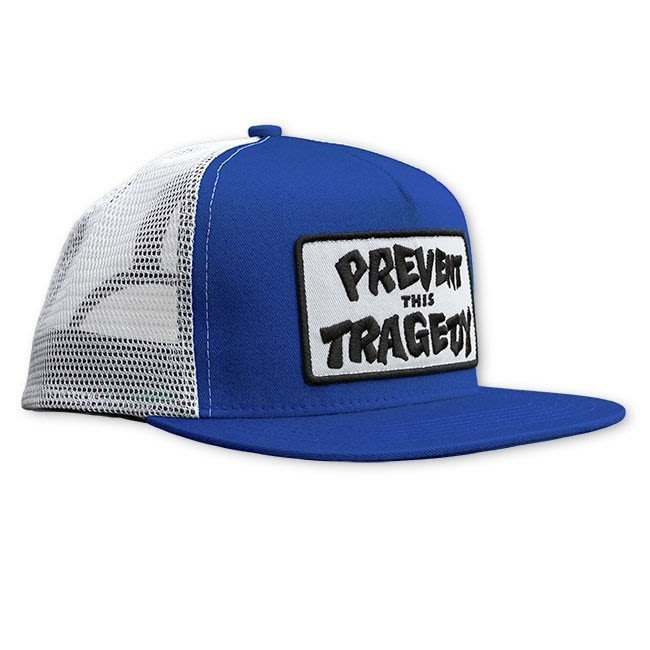 【THRASHER】Prevent this tragedy trucker hat 帽子(藍色/白色)