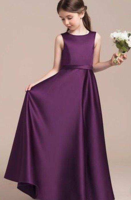 氣質優雅無袖禮服 高腰禮服 光澤緞面禮服 大提琴小提琴表演 女高音聲樂長笛鋼琴演奏伴奏表演服 比賽禮服 紫色長禮服