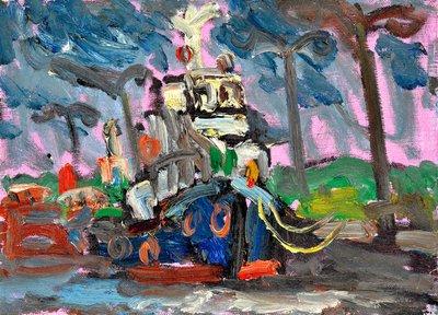 高秀明 船(南寮漁港) 2003 4號 油畫 (油彩、野獸派、台灣、苗栗、造橋、本土、星期日畫會、張萬傳、蔣瑞坑)