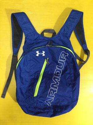 UA UNDER ARMOUR Adaptable雙肩後背包 棒壘球用 運動 休閒 可收納,螢光亮藍,8成5新