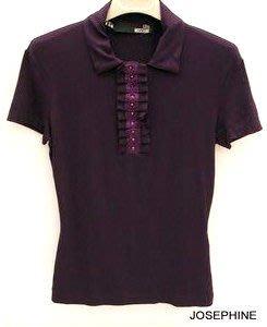 喬瑟芬【LOVE MOSCHINO】出清特價$5000含運~2010 秋冬紫色皺摺荷葉絲棉T恤
