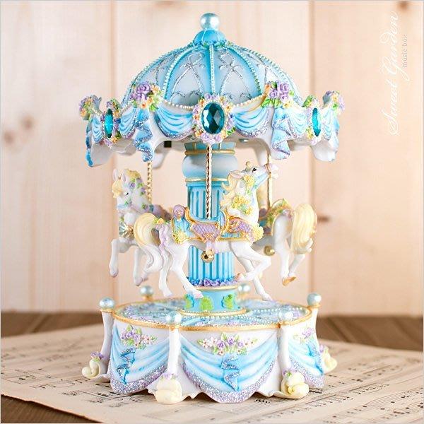 Sweet Garden, 藍色浪漫玫瑰遊樂馬變色發光旋轉音樂盒(免運) 旋轉木馬 求婚 訂情 情人禮物 台中音樂青蛙